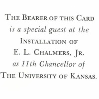 Chancellor Chalmers Installation Ticket