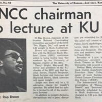 December 15, 1969 UDK Article about H Rap Brown Visit to KU