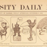 Jayhawk and Jinx <em>UDK</em> Cartoon Strip by Hank Maloy, November 8, 1912