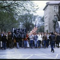 Marchers on Jayhawk Boulevard on National Vietnam Moratorium Day, Oct. 15, 1969