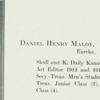 "Daniel Henry ""Hank"" Maloy's Yearbook Photograph, 1914 <em>Jayhawker Yearbook</em>"