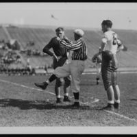 Referee with two players, 1945