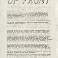 First issue of Up Front the official newsletter of the Lawrence Gay Liberation Front, 1973, pg. 1
