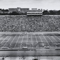 Chancellor Chalmers speaking before students, faculty and staff gathered in Memorial Stadium to vote on the recommended alternatives, May 8 1970