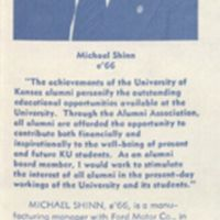 Michael G. Shinn's statement as candidate for Board of Directors of the KU Alumni Association.