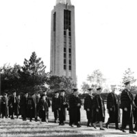 Students walk down the Hill during 1971 commencement