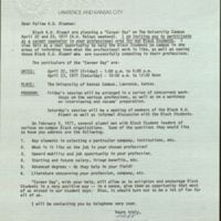 1977 letter from Michael G. Shinn, inviting KU alumni to participate in the first Career Day program on campus.