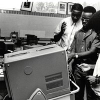 Students work with AV materials 1970/71