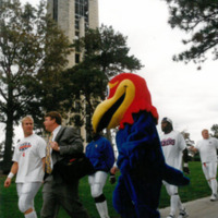 Jayhawk mascot walking by the Campanile with the football team, 1998