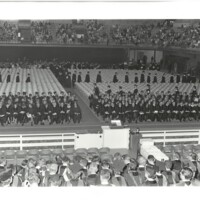 Commencement 1970 Photo of Graduates in Allen Fieldhouse