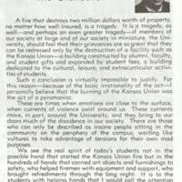 """A Message from the Chancellor"" from the ""Union Burns"" Special Issue of the Alumni Magazine, May 16, 1970"