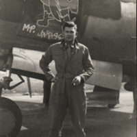 Jay Smith Standing Beside His World War II Bomber, 1944