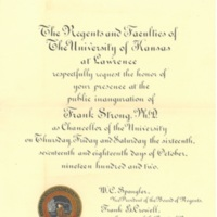 Invitation to Chancellor Strong's Inauguration
