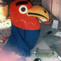 Finishing the Baby Jay costume, 1971