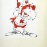 """Preliminary Jayhawk Wearing a """"K"""" Sweater Drawing by Paul Coker for the Alumni Association, 1940s-1950s"""