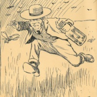 Cartoon Sketch of Chancellor Snow chasing bugs