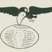 Jayhawk holding football scores in 1911 <em>Jayhawker Yearbook<br /></em>