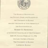 Invitation to Chancellor Hemenway's Inauguration