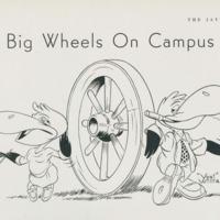 """Big Wheels on Campus"" 1947 <em>Jayhawker</em> <em>Yearbook</em> cartoon featuring Heoweeze and Heathcliff"