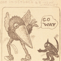 First Jayhawk drawing to appear in print, <em>UDK</em>, October 25, 1912