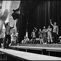 Day of Alternatives Photo of Student protest in Hoch Auditorium
