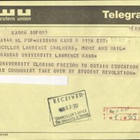 Negative telegram sent to the Chancellor, May 8 1970