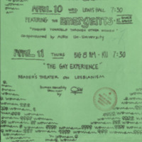 Flyer announcing an event on woman to woman relationships, April 1973