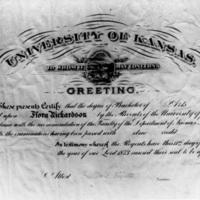 Flora Richardson's diploma