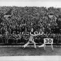Cheering at Memorial Stadium, 1935