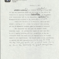 Press release announcing that the Student Senate voted to appropriate $600 to the Gay Liberation Front despite the Chancellor's refusal to recognize the Front, Oct. 1, 197
