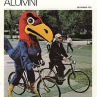 <em>Kansas Alumni Magazine</em> cover for November 1971, featuring Hank Maloy and the Jayhawk mascot