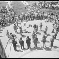 Day of Alternatives Photo of Mock battle outside Strong Hall to protest the Vietnam War
