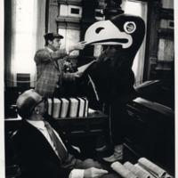 Jayhawk Mascot visting legislators at the Kansas State Capitol, 1970s