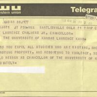 Negative telegram sent to the Chancellor, April 21 1970