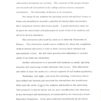 1970 Day of Alternatives Chancellor Chalmers Statement