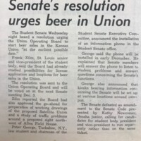 "UDK article ""Senate resolution urges beer in Union"""