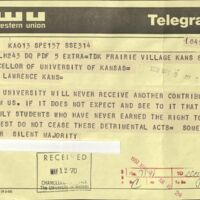 Negative telegram sent to the Chancellor, May 9 1970