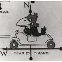 Drawing of a Jayhawk driving a car on the compass of a map, by D. Kane, 1946