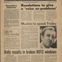Front page of the May 7 1970  issue of the University Daily Kansan