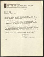 """Letter, Alexandra """"Sandy"""" Mason, Spencer Librarian, to Anne Reilly, Helen Spencer's assistant, May 15, 1973"""