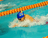 Alison Lusk competing in the breaststroke