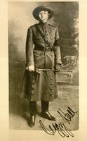 <p>Photo of Peggy Hull wearing WWI uniform, at Besancon, France, 1917</p>