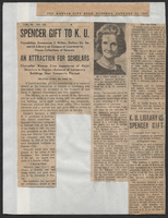 "Newspaper article, ""Spencer Gift to KU,"" The Kansas City Star, January 25, 1966"