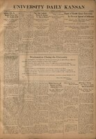 Front page of the UNIVERSITY DAILY KANSAN, October 8, 1918.