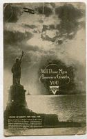 YMCA postcard from William Hayden to his parents, announcing his arrival in the U.S. June 14, 1919, aboard the Madonna.
