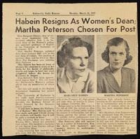 """""""Habein Resigns as Women's Dean; Martha Peterson Chosen for Post"""""""