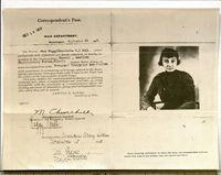 <p>U.S. War Department, Correspondent's Pass, Sept. 24, 1918<b> </b></p>