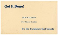 Campaign card for Robert L. Gilbert, cheerleading