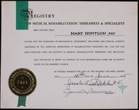 Mary Huntoon's Certificate of Registry of Medical Rehabilitation Therapists & Specialists.