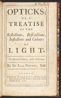 <em>Opticks: Or, a Treatise of the Reflections, Refractions, Inflections and Colours of Light.</em>
